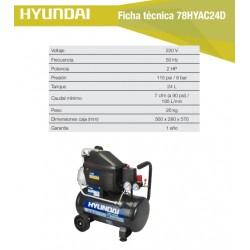 Compresor Hyundai Monofásico 1,5HP 24L 115psi Directo