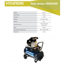 Compresor Hyundai Monofásico 2HP 50L 115psi Directo