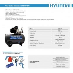 Compresor Hyundai Monofásico 2HP 100L 115psi Directo