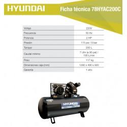 Compresor Hyundai Monofásico 2HP 200L 115psi Correa