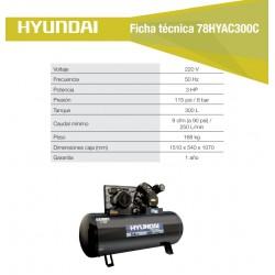 Compresor Hyundai Monofásico 3HP 300L 115psi Correa